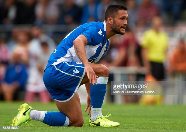 Florin Andone of Deportivo de La Coruna reacts during the preseason friendly match between Cerceda and Deportivo de La Coruna at O Roxo Stadium on...