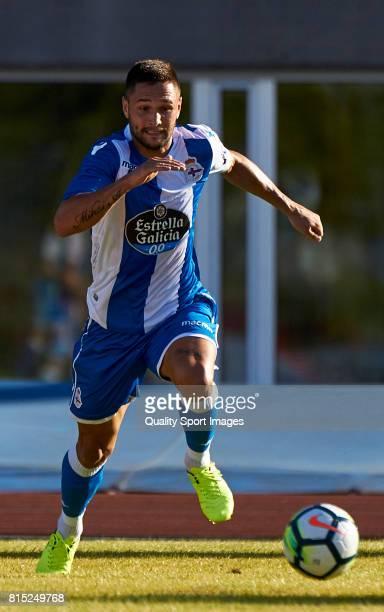 Florin Andone of Deportivo de La Coruna runs to catch the ball during the preseason friendly match between Club Silva SD and Deportivo de La Coruna...