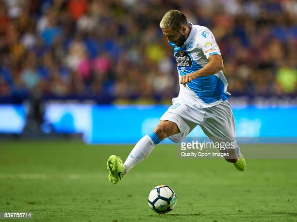 Florin Andone of Deportivo in action during the La Liga match between Levante and Deportivo La Coruna at Ciutat de Valencia on August 26 2017 in...