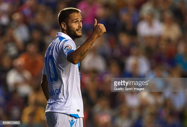 Florin Andone of Deportivo reacts during the La Liga match between Levante and Deportivo La Coruna at Ciutat de Valencia on August 26 2017 in...