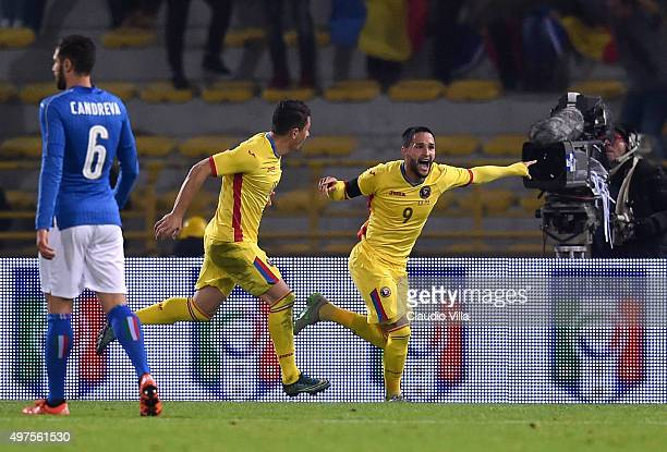 Florin Andone of Romania celebrates after scoring the second goal during the international friendly match between Italy and Romania at Stadio Renato...