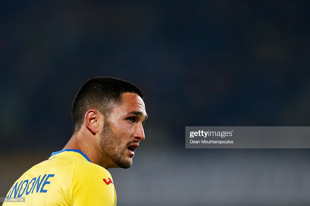 Florin Andone of Romania looks on during the International Friendly match between Romania and Spain held at the Cluj Arena on March 27, 2016 in Cluj-Napoca, Romania.