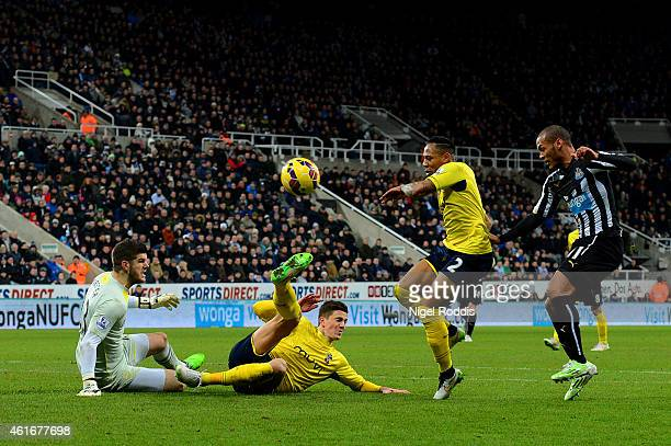 Florin Gardos of Southampton slides in to clear the ball ahead of Fraser Forster before it rebounds off Yoan Gouffran of Newcastle United to score...