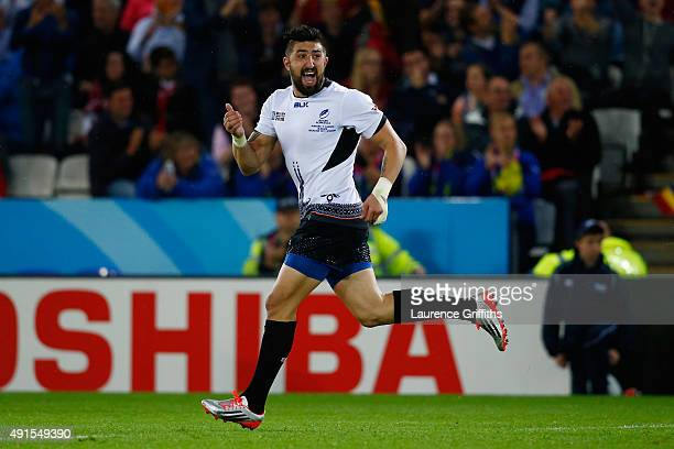 Florin Vlaicu of Romania celebrates a successful penalty during the 2015 Rugby World Cup Pool D match between Canada and Romania at Leicester City...