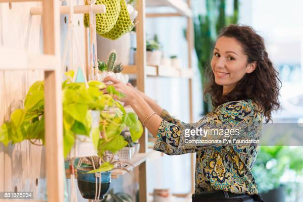 Florist arranging plants in flower shop