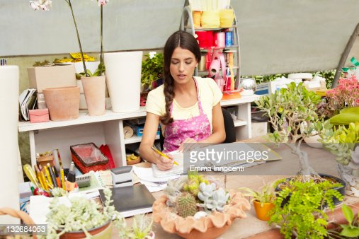 florist, business, greenhouse, desk, inventory, : Stock Photo