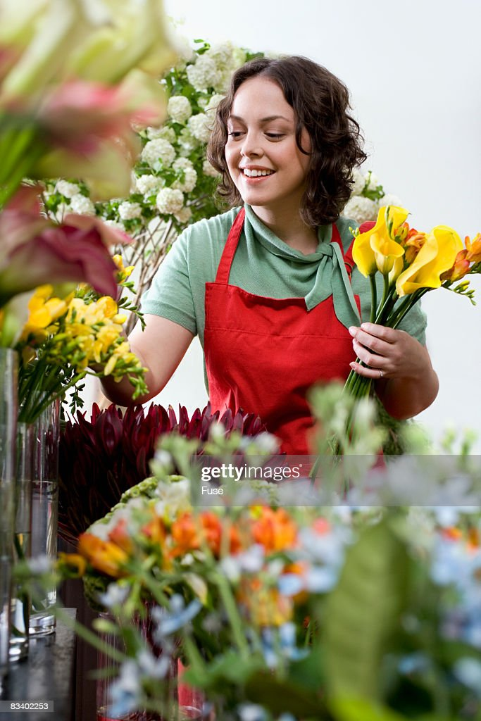 Florist Choosing Flowers for an Arrangement