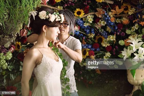 Florist helping bride