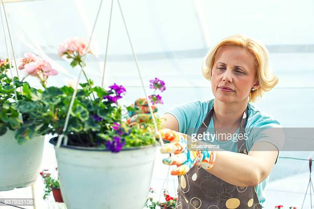 Florist holding flowers in a greenhouse