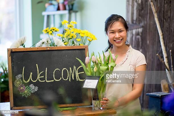 Florist in Her Shop