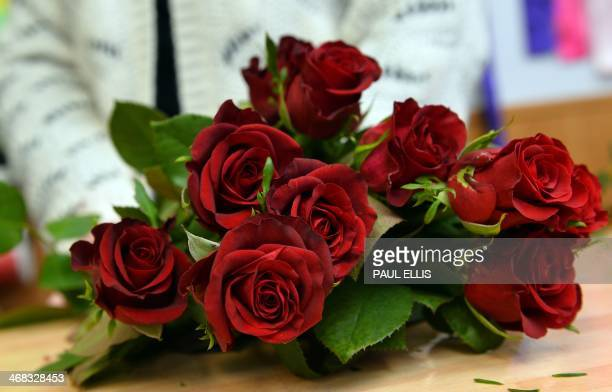 Florist Katie Smith prepares a bouquet of roses for sale for Valentine's Day at her shop in Wallasey north west England on February 10 2014 AFP PHOTO...