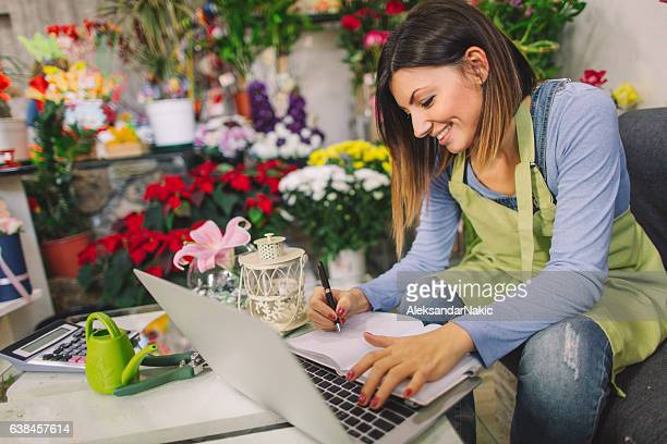 Florist taking orders from the internet