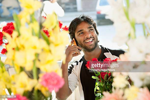 Florist talking on a mobile phone