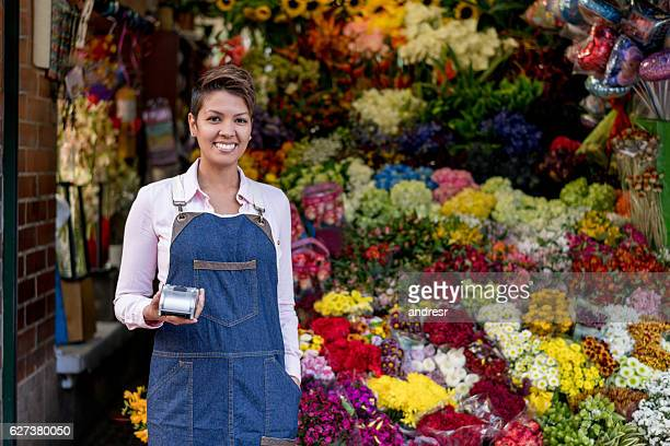 Florist working at the flower shop