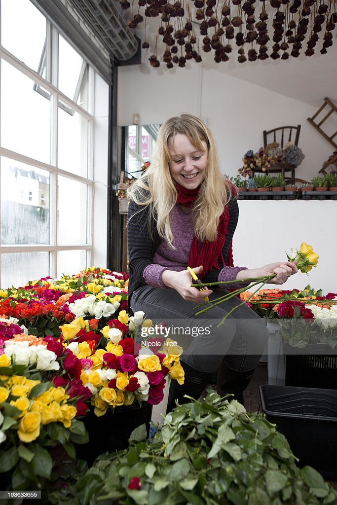Florist working in her shop cutting roses. : Stock Photo