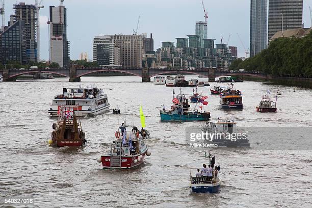 Flotilla of fishing vessels on the River Thames arrive outside the Houses of Parliament to make the case for Brexit in the EU Referendum on June 15th...