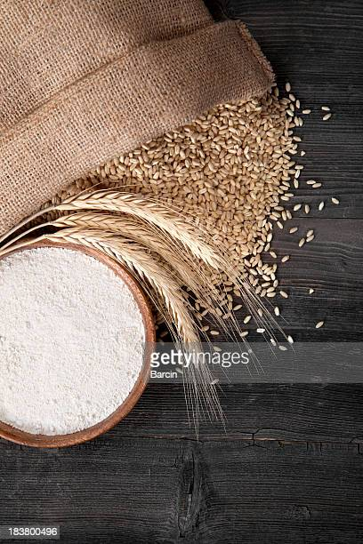 Flour and wheat grains