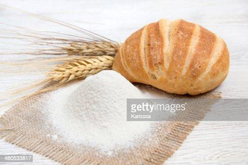 Flour, bread and wheat : Stock Photo