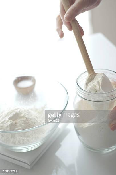 Flour on kitchen scale