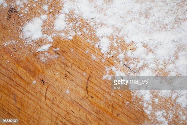 Flour on the kitchen board
