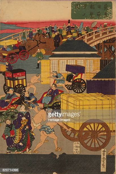 Flourishing Nihonbashi section of Tokyo Triptych Private Collection
