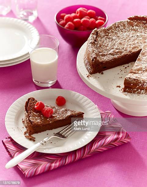 Flourless chocolate cake dessert with raspberries.