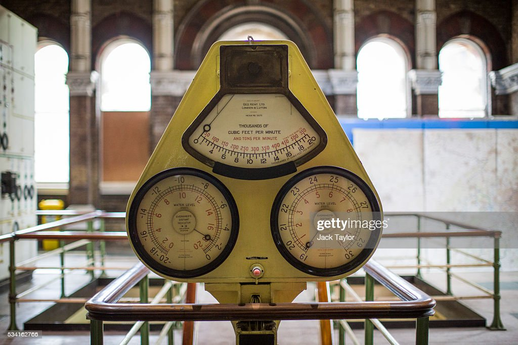 A flow monitor inside The Abbey Mills pumping station in Stratford on May 25, 2016 in London, England. The Grade II listed building, designed by British engineer Joseph Bazalgette to lift sewage from the low-lying areas of north London, was completed in 1868. Thames Water marks Sewage Week this week with a series of events inviting members of the public down into the underground sewer network and around the Abbey Mills pumping station in east London.