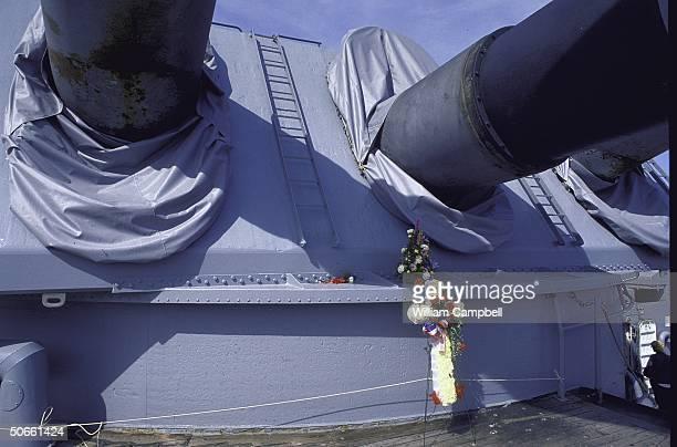 Flower adorned turret two of Battleship USS Iowa after accidental gun turret explosion killing 47 sailors