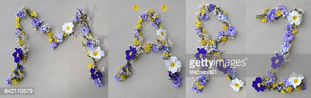 Flower arrangement building the word Maerz