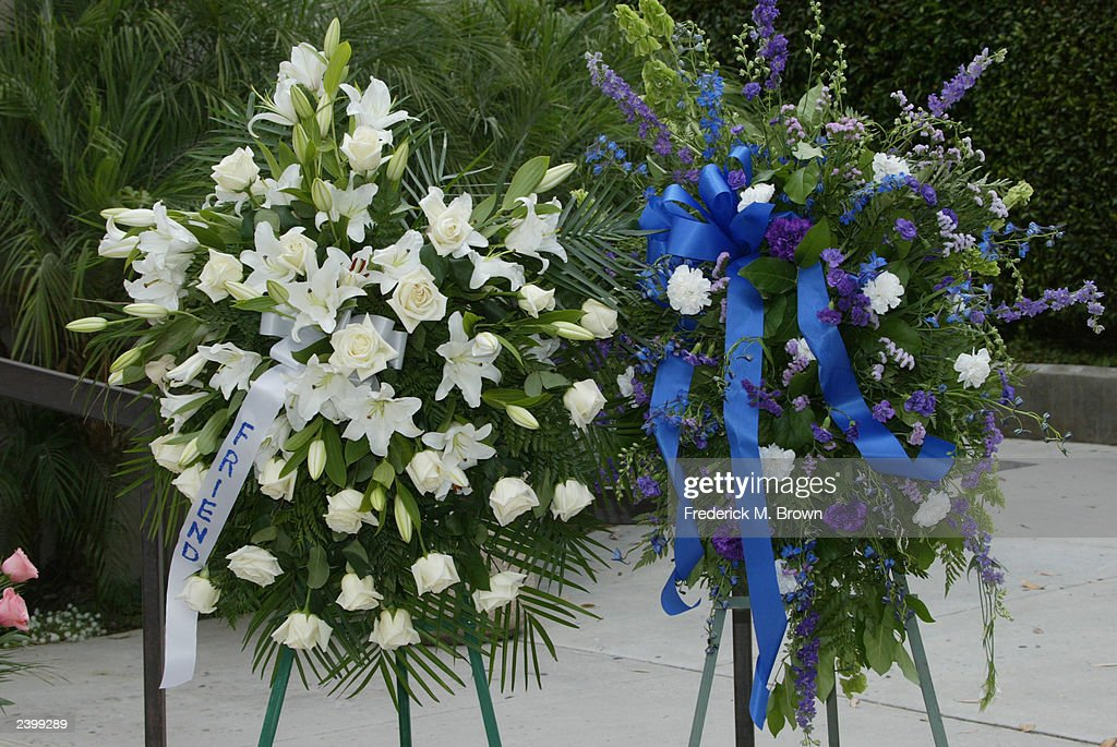 A flower arrangement for the memorial service for Gregory Hines stands outside Saint Monica's Catholic Church on August 13, 2003 in Santa Monica, California.