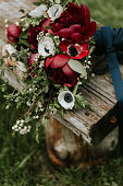 Flower arrangement detail from a wedding with traditional theme.
