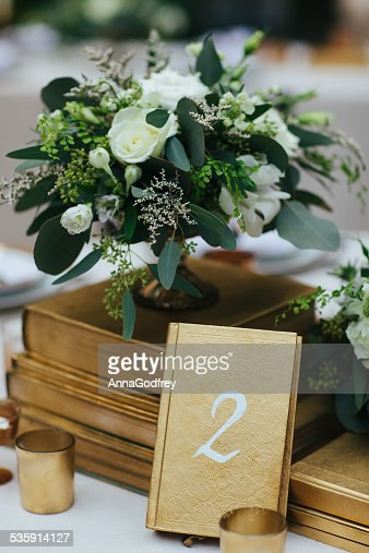 Flower Arrangement with Table Number Two : Stock Photo