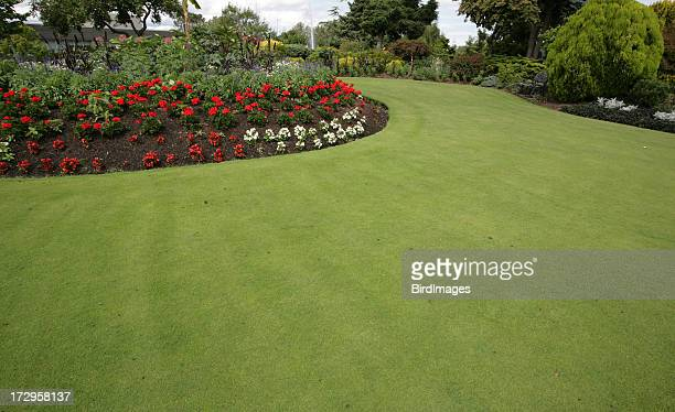 Flower beds and Lush Green Lawn