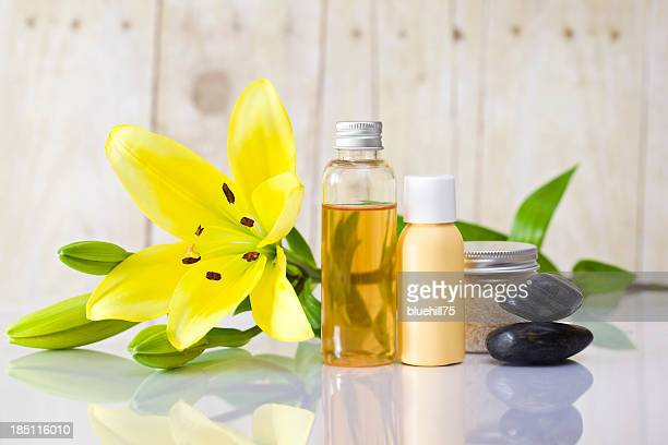 Flower blossom lying with spa and body care items