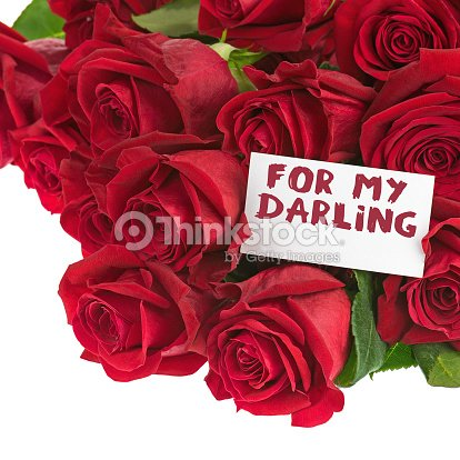 Flower Bouquet From Red Roses And Greeting Card Isolated Stock Photo