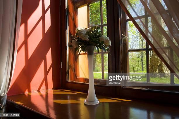 Bouquet de fleurs assis au Rebord de fenêtre