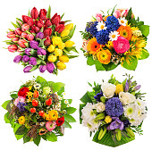 Colorful flower bouquets for Birthday, Wedding, Mothers Day, Easter. Top view
