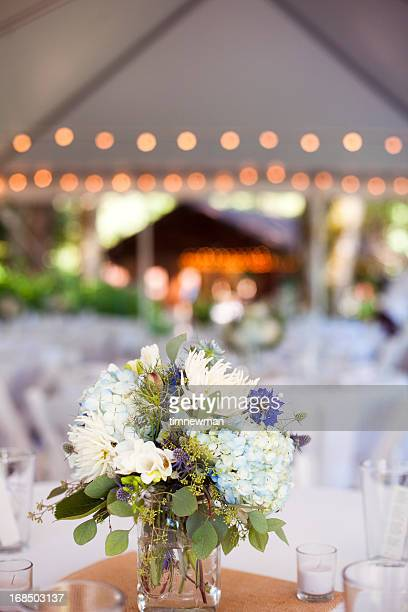 Flower center piece at a formal event
