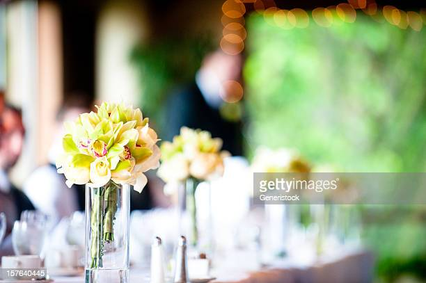 Flower centerpieces at a wedding