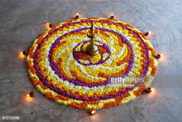Flower decoration for onam festival, Kerala, India