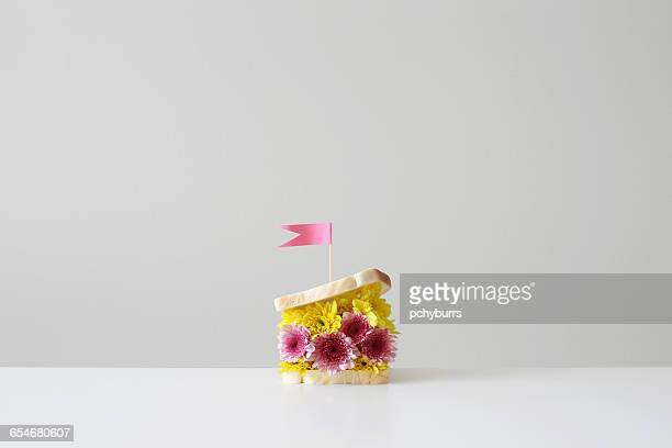 flower filled sandwich with  flag