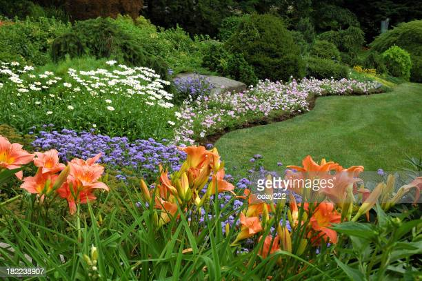 A flower garden with a variety of colored flowers in grass