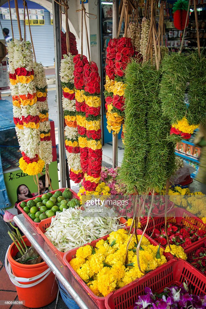 Flower garlands in Little India, Singapore : Stock Photo