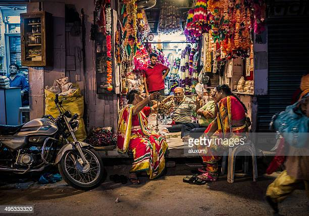 Flower garlands shop in Jodhpur Rajasthan India