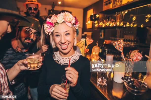 Flower girl on Halloween party