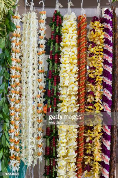 Flower lei for sale at Merrie Monarch Festival in Hilo Hawaii