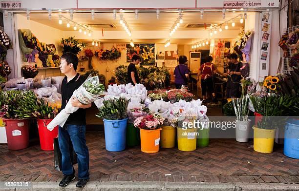Flower market in Hong Kong