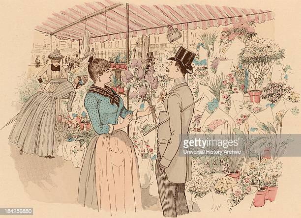 Flower market in the Madeleine Paris France The man has chosen a bunch of lilac From 'Paris Brillant' by 'Mars' Lithograph