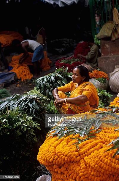 Flower market near Howrah bridge Calcutta West Bengal India