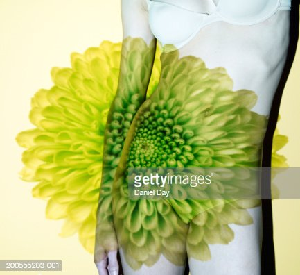 Flower over woman, mid section